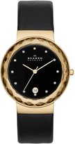 Skagen Skw2124 Leonora Gold Steel Glitz Black Leather Women's Watch