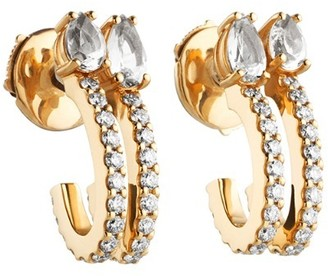 Swarovski Atelier Arc-en-ciel Double Hoop Earrings Genuine Topaz 18k Gold