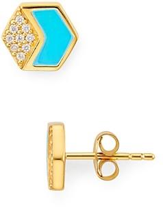 Argentovivo Hexagonal Stud Earrings in 18K Gold-Plated Sterling Silver