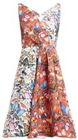 Mary Katrantzou Butterfly Printed Flared Faille Dress - Womens - Red White