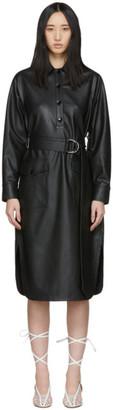 Tibi Black Faux-Leather Shirt Dress