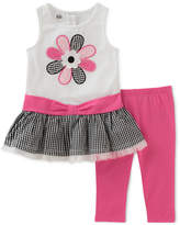 Kids Headquarters 2-Pc. Gingham Flower Tunic & Leggings Set, Little Girls