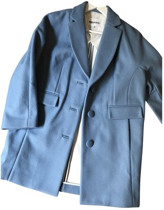 American Retro Blue Wool Coat for Women