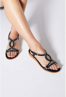 Quiz Comfort Black Diamante Mini Wedge Sandals