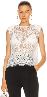 Self-Portrait Cord Lace Sleeveless Top in Ivory | FWRD