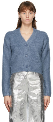 we11done Blue Embroidered Logo Cardigan