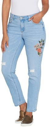 Du Jour Floral Printed Distressed Denim Ankle Pants
