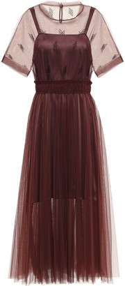 Brunello Cucinelli Bead-embellished Pleated Tulle Midi Dress