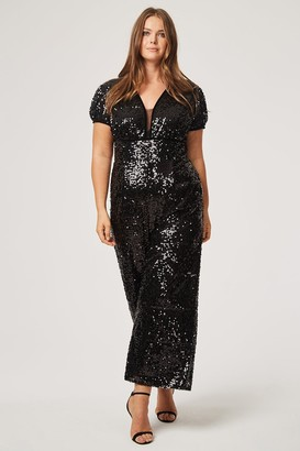 Little Mistress Curvy Becca Sequin Plunge Jumpsuit