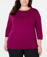 Karen Scott Plus Size Printed 3/4-Sleeve Sweater, Created for Macy's