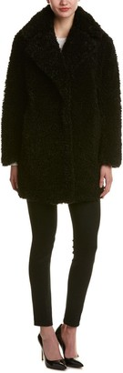 Kensie Women's Faux Fur Teddy Notch Collar Coat