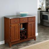 Home Styles Three-Drawer 41.75 in. W Cherry Buffet with Stainless Top
