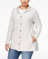 Style&Co. Style & Co Plus Size Striped Hooded Sweater, Only at Macy's