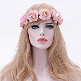 Gillberry Boho Ladies Floral Flower Hairband For Festival Wedding Garland Beach Party Hair Head Band (Pink)
