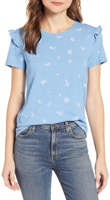 Lucky Brand Ruffle Sleeve Floral T-Shirt