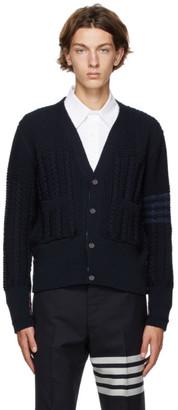 Thom Browne Navy Wool Aran Cable 4-Bar Cardigan