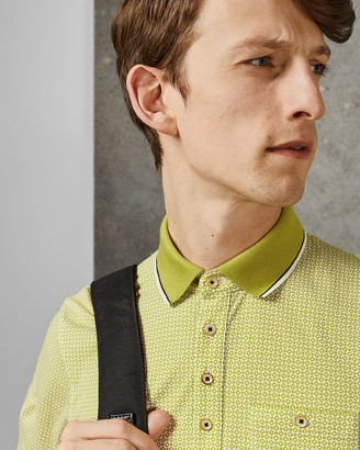 Ted Baker Geo Print Cotton Polo Shirt