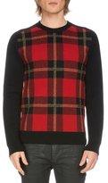 Balmain Tartan Plaid Wool-Blend Sweater, Black/Red
