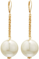 Kenneth Jay Lane Golden Chain & Simulated Pearl Drop Earrings