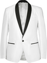 Dolce & Gabbana White Slim-Fit Grosgrain-Trimmed Jacquard Tuxedo Jacket