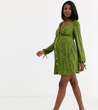 ASOS DESIGN Maternity Exclusive zebra burnout mini tea dress