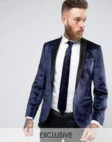 Noose & Monkey Super Skinny Tuxedo Blazer In Crushed Velvet