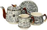 One Kings Lane Vintage 1930s Arthur Woods Silver Shield Tea Set - Rose Victoria - gray/white/multi