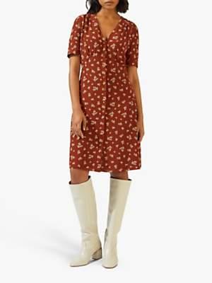 Jigsaw Forget Me Not Tea Dress, Chestnut