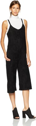 Lucca Couture Women's Davey Faux Suede Crop Overall Jumpsuit