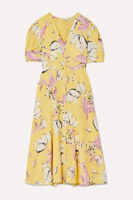 Erdem Gracelyn Floral-print Crepe Midi Dress - Yellow