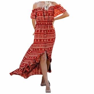 Beetlenew Womens Dress Women's Dresses Retro Boho Ruffle Floral Print Off Shoulder Split Irregular Hem Flowy Maxi Dress Casual Loose A-Line Swing Long Dress Holiday Summer Beach Party Wedding Gown Sundress Red