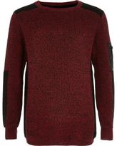 River Island Boys red ribbed shoulder sweater