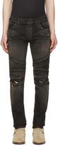 Balmain Black Distressed Biker Rib Jeans