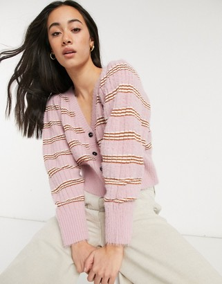 Lost Ink relaxed cardigan in spaced stripe