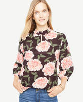 Ann Taylor Butterfly Floral Silk Pleat Neck Blouse