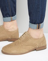 Asos Brogue Shoes in Stone Suede With Natural Sole