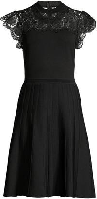 Shoshanna Sandra Lace-Yoke A-Line Dress