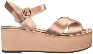 Prada Platform Crossover Strap Sandals