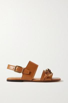 Dries Van Noten Embellished Leather Sandals - Tan