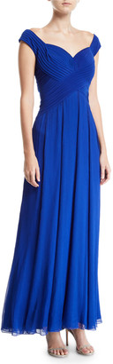 Tadashi Shoji Sleeveless Pintuck Jersey & Chiffon Gown