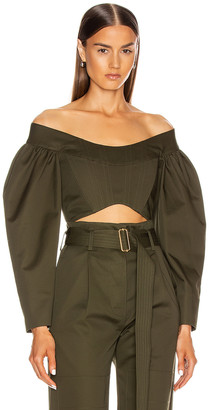 Dion Lee Convex Twill Bustier Top in Olive | FWRD
