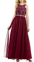 Masquerade High Neck Ombre Sequin Bodice Embellished Waist Lace-Up Back Ballgown