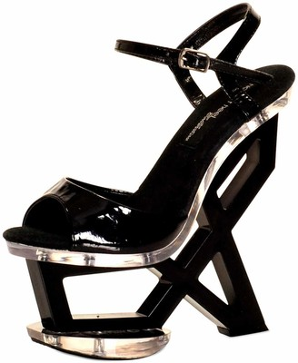 The Highest Heel Astonish 11 Clear Vinyl Strap Geometric Bottom Platform Wedge