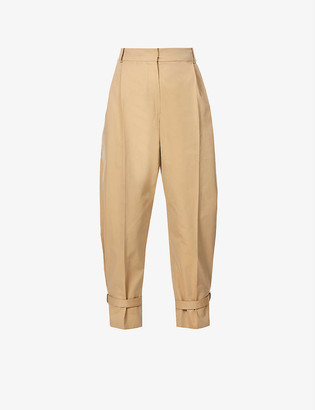 Alexander McQueen Relaxed-fit tapered high-rise cotton trousers