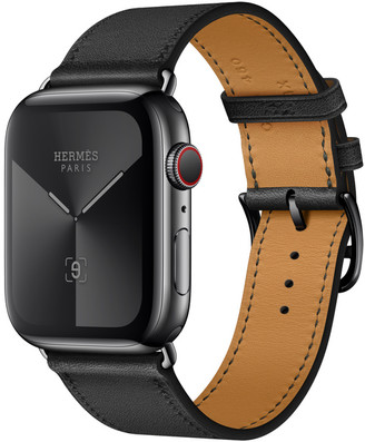 Apple Watch Herms GPS + Cellular 44mm Space Black Stainless Steel Case with Noir Swift Leather Single Tour