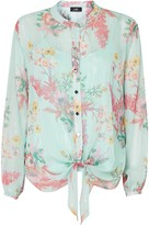 Wallis Blue Floral Print Tie Front Shirt