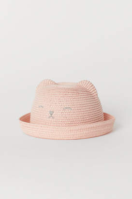 H&M Straw Hat with Ears - Pink