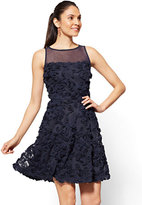 New York & Co. Rosette Fit and Flare Dress - Navy