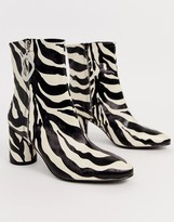 Asos Design DESIGN Charlotte feature zip smart ankle boots in zebra