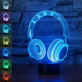 3D Illusion Lamp Gawell Night Light Wireless Headphone 7 Changing Colors Touch USB Table Nice Gift Toys Decorations (Headphone3)